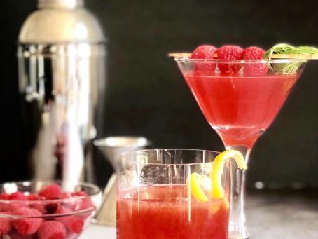 Raspberry Cocktail Duo- Raspberry Whiskey Sour and Raspberry Martini