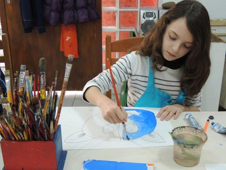 Oficina pintura em tela para crianças