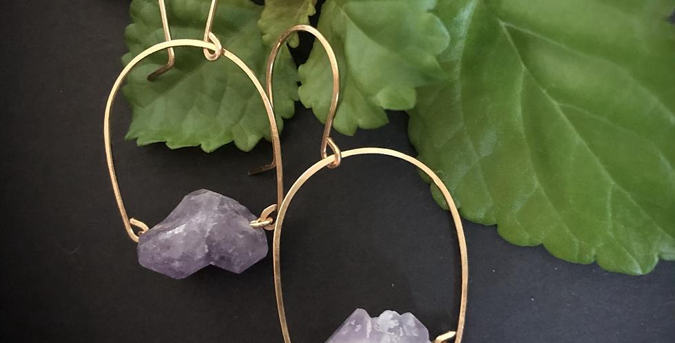 Amethyst Fern Earrings