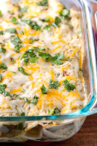 Salsa Verde & White Queso Chicken Enchiladas