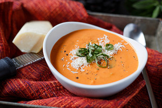 Creamy Tomato Soup & Caramalized Onion Grilled Cheese
