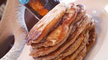 Buttermilk Banana Pancakes | Baked Bacon & Homemade Maple Syrup