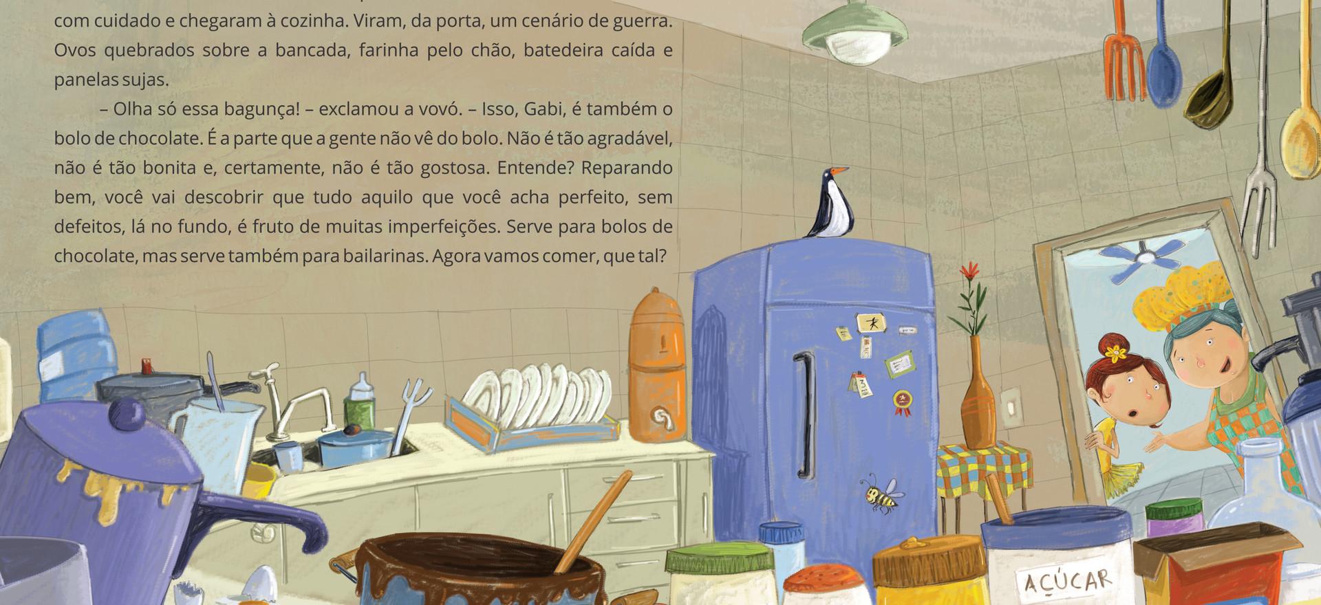Ilustração para o livro: O tutu amarelo e o bolo de chocolate