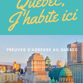 Preuves d'adresse au Québec