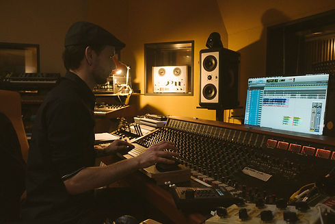 André Six working at the console at Pieuvre Studio in Brussels, Belgium.