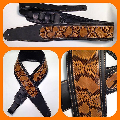 Python Inset In Black Leather