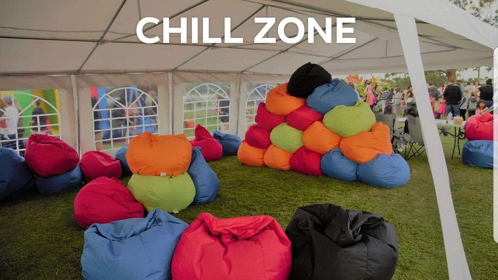 Chill Zone + 30 Bean bags Hire per day