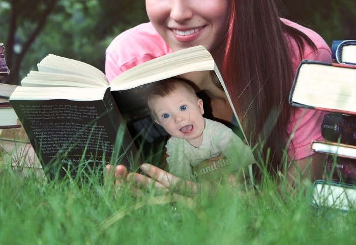 Woman reading Baby book