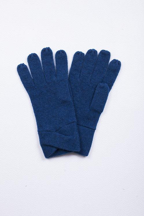 Gants cachemire plié croisé - Bleu nuit