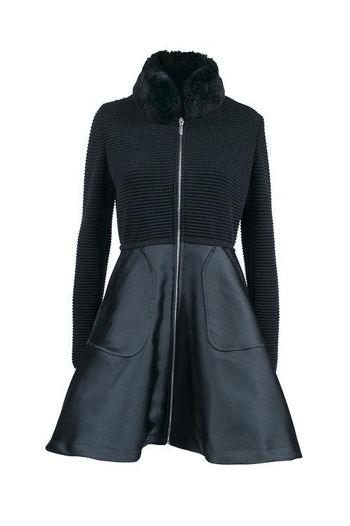 Manteau zippé en laine noire à col fourrure