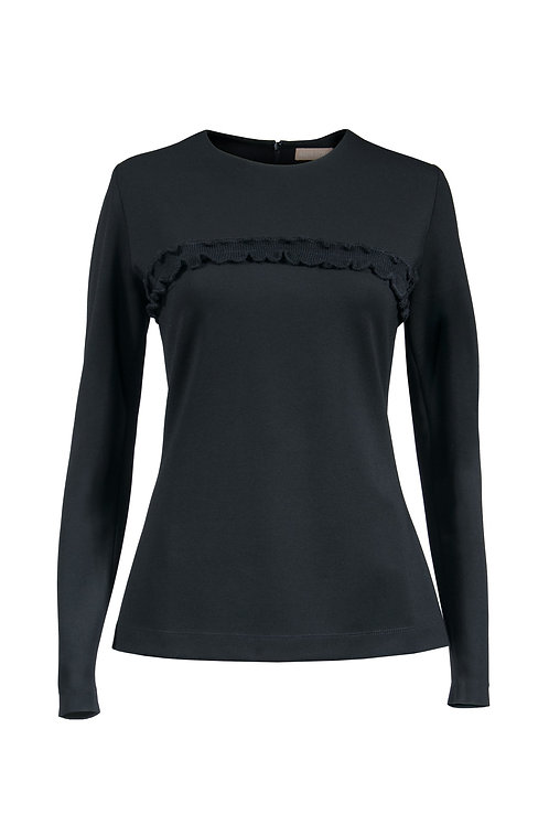 Top en jersey noir cintré