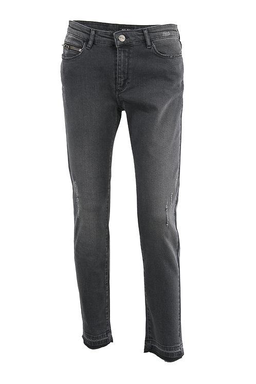 Jean taille haute délavé gris
