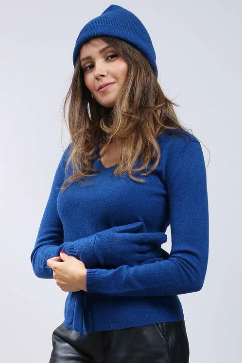 Bonnet 100% cachemire - Bleu nuit