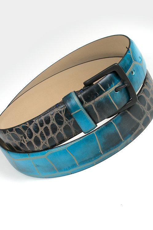 Ceinture en cuir dégradé noir/bleu effet croco