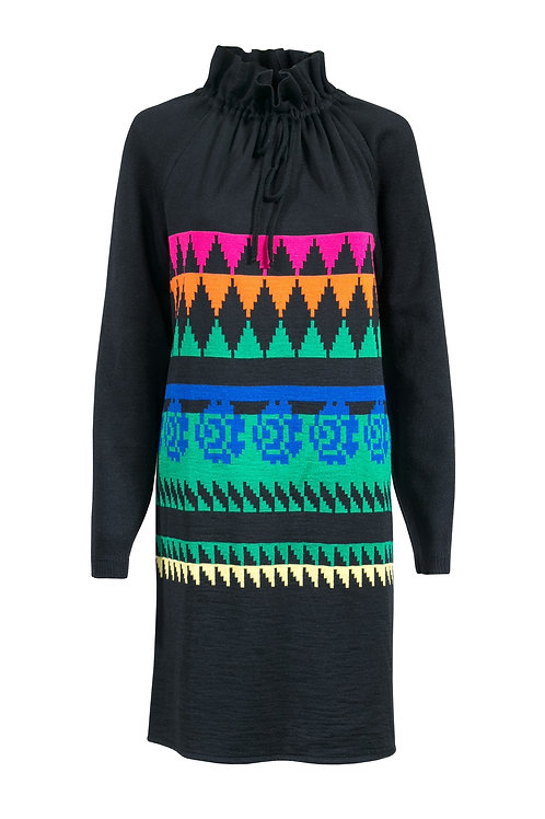 Robe en laine noire à motifs couleurs