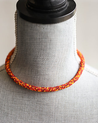 Orange/Yellow or Black/Gold Beaded Choker