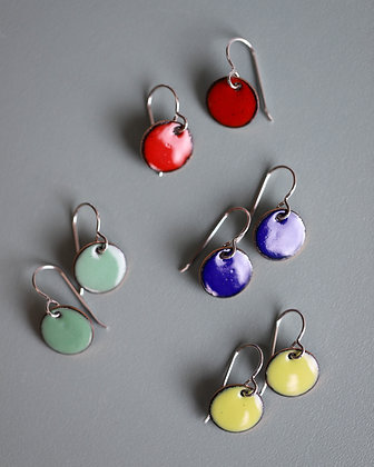 Earrings, Enamel on Copper