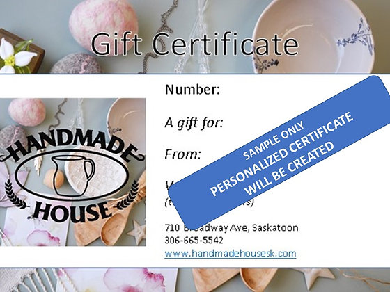 Gift Certificate - Click to see delivery options