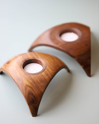 Triangular Wood Candle Holder