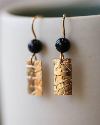 Gold & Black Onyx Earrings
