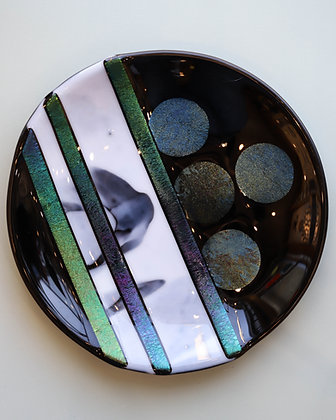 Black and Iridescent Fused Glass Plate