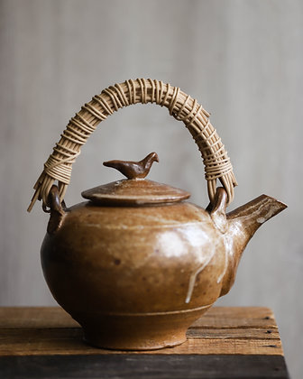 Brown Teapot with Bird