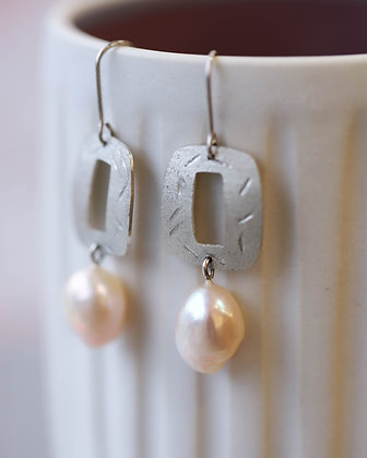 Silver and Pink Pearl Earrings