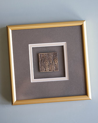 Gold Framed Wheat Scupture