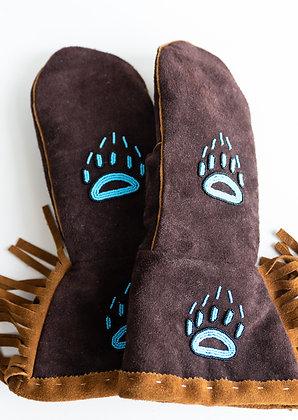 Men's Deer skin beaded mitts