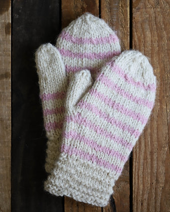 Pink & White Striped Mitts