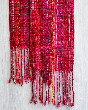 Red Silk & Wool Scarf