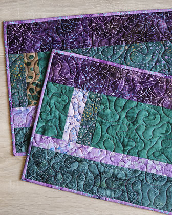 Purple & Green Quilted Placemats (2)