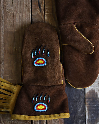 Brown Leather Mitts