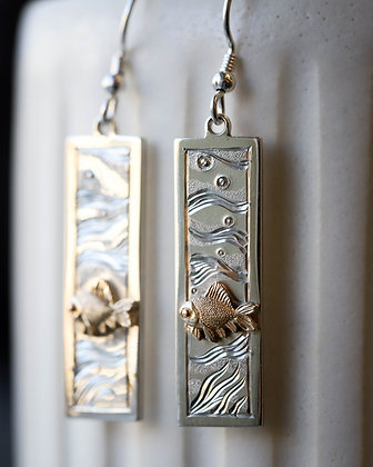 Gold and Silver Fish Earrings