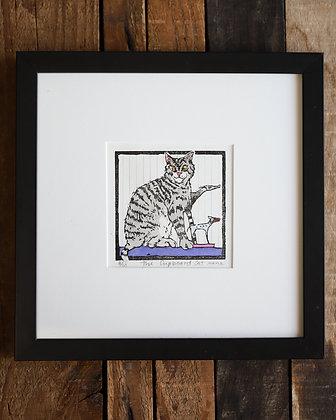 """""""The Cupboard Cat"""" Framed Linocut"""