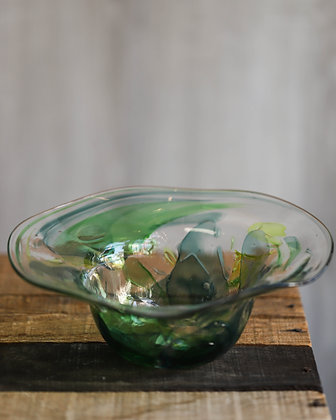 Flared Green Glass Bowl