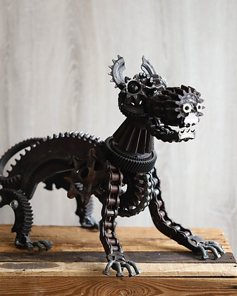 Upcycled Metal Dog Sculpture