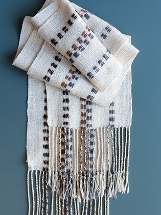 White and Brown Silk Scarf