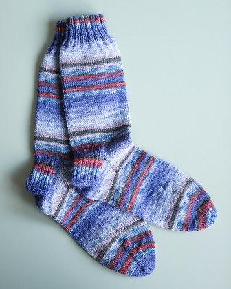 Blue Knit Socks (Size Medium)
