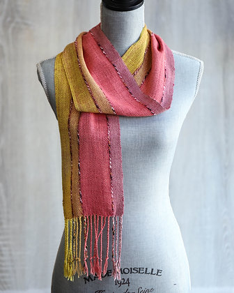 Pink & Yellow Hand-Dyed Silk Scarf
