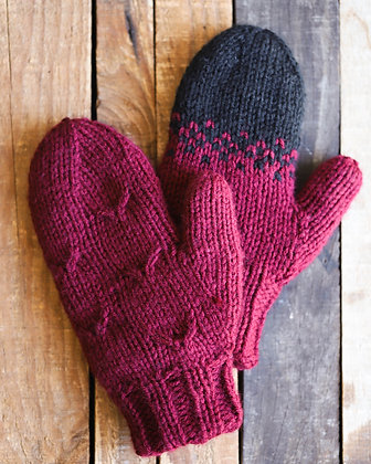 Reversible Burgundy Mitts