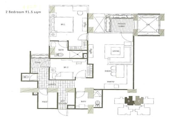 1 Park Residence ( 2br 91.5m)