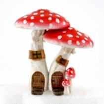 Cute Red Mushroom Fairy House w/pick