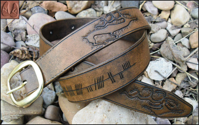 Reindeer Belt with Ogham script