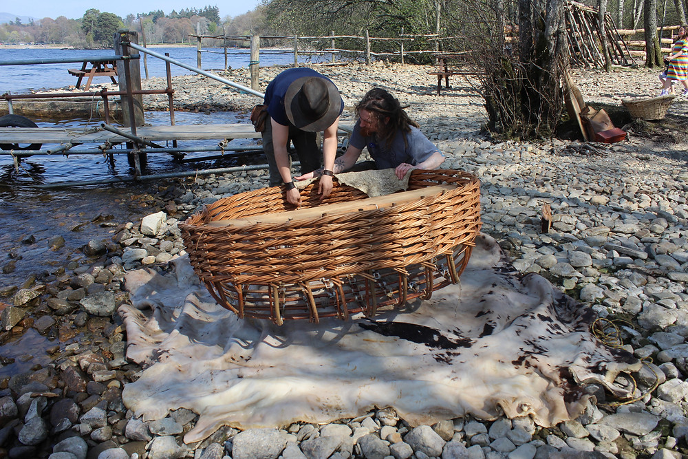Covering the coracle frame