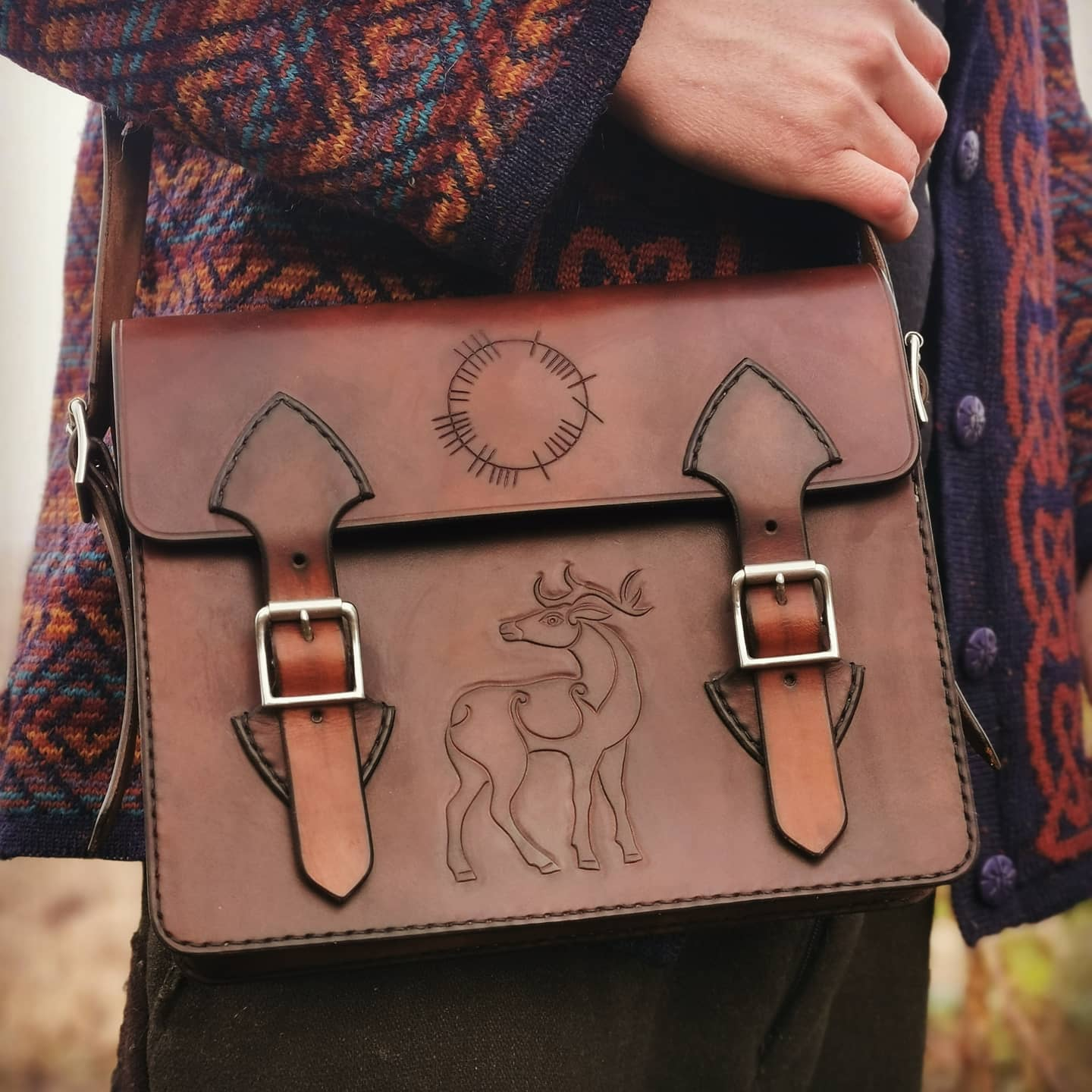 ogham deer satchel