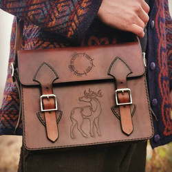 ogham deer satchel