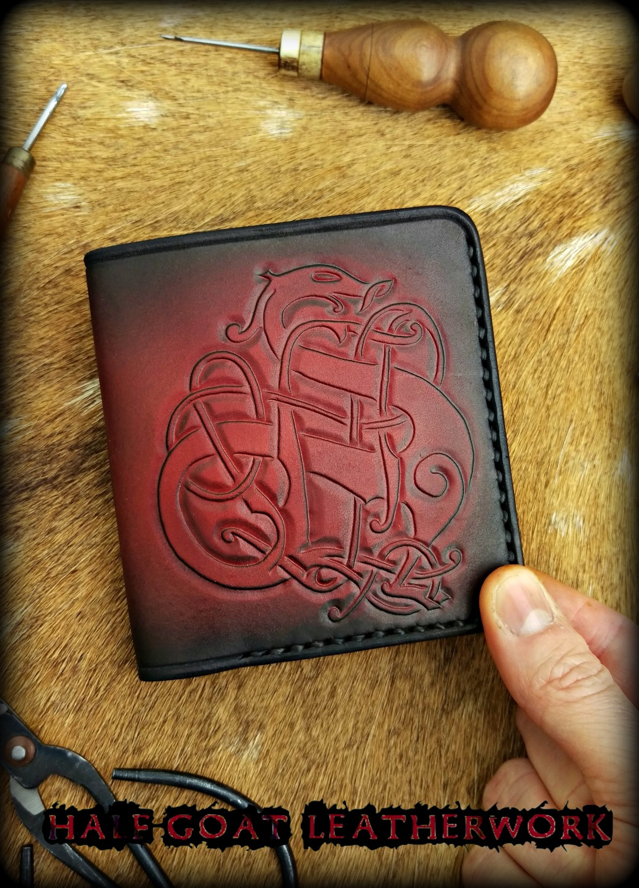 Viking Wallets Urnes Beast Red