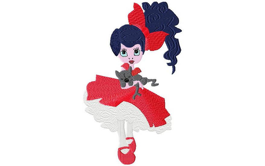 petite fille noeud rouge