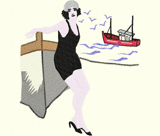 femme bateau vintage